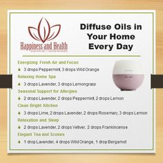 From Stacy: There are so many wonderful essential oil diffuser blends! Here are a few I really enjoy. Learn more great uses for essential oils in your home in my free e-Guide.