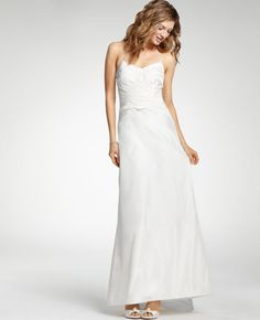 Silk Taffeta Halter Wedding Dress --- oooohhhh. pretty. like the spaghetti straps that tie in back halter style.pretty shirring up top. simple and elegant. it's 100% silk so not sure if that would be too hot?