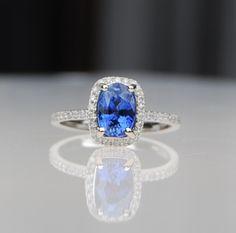 1.71ct Cushion blue cornflower sapphire diamond ring 14k white gold engagement ring
