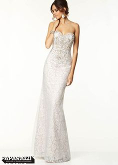 Beautiful Lace Overlay Adds Full Length Gown