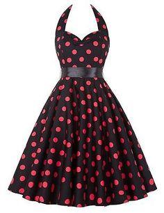 Fashion Womens 1950s Black Polka Dot Spaghetti Strap Prom Cocktail Belted Dress | eBay