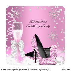 Pink Champagne High Heels Birthday Party 2 Card