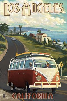 Los Angeles, California - VW Van Cruise Travel Poster #affiliate