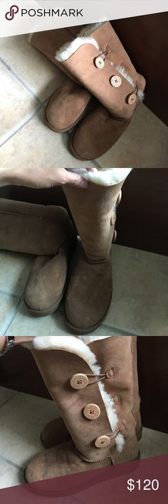 Authentic BAILEY BUTTON TRIPLET II CHESTNUT 3 button Ugg boots- never wore - lost box UGG Shoes Lace Up Boots
