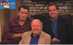 Actor Charlie Sheen with Dick Van Patten and Jimmy Van Patten, they all appear in Who Let the Dogs Out in a public service announcement.
