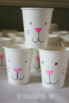 Make some super simple Easter bunny cups for going on easter egg hunts or giving treats in! A quick decoration and DIY gift idea for the kids this Spring!