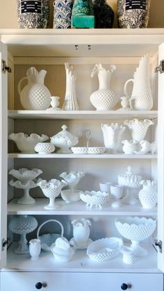 Milk Glass Display In Hutch. White On White. Simply Elegant.
