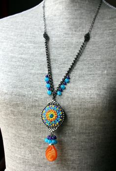 Vibrant Clay Floral Applique Pendant Necklace by charancreations
