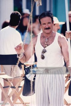 Robin Williams on the set of 'The Birdcage' in 1995 in Miami Beach, Florida.