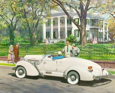 1935 Auburn by Harry Anderson - 'Stanton Hall, Natchez, Mississippi' from Great Moments in Early American Motoring EXXON/ESSO Car Calender