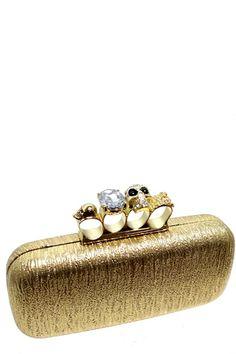 * Skull Ring Knuckle Clutch Purse  * Four Rings Box Clutch  * Metal Chain Strap  * Diamante  * L8.5 x H4 x W2