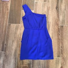 Blue one shoulder dress. Size small Great dress for a night out or special occasion. Brand: Greylin. Size small. Worn once. EUC Greylin Dresses One Shoulder