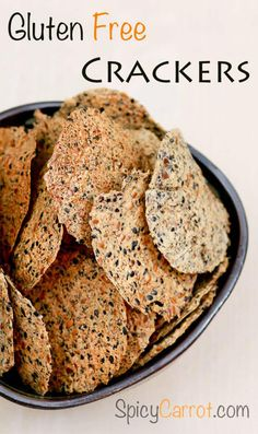 50 Awesome Gluten-Free Cracker Recipes for Any Occasion - Gluten Free Food - 50 Awesome Gluten-Free Cracker Recipes for Any Occasion Gluten-Free Crackers - Healthy Crackers, Gluten Free Crackers, Homemade Crackers, Healthy Snacks, Easy Snacks, Gluten Free Cooking, Gluten Free Recipes, Vegan Recipes, Snack Recipes
