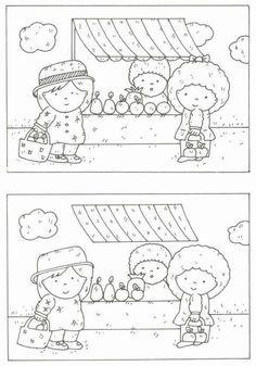 thema, op de markt - oefening zoek de verschillen Kindergarten Activities, Activities For Kids, Spot The Difference Puzzle, Restaurant Themes, Hidden Pictures, Preschool At Home, Pre Writing, Activity Sheets, Puzzles For Kids