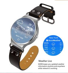 Kingwear KW98 Smart Watches 1.39 inch AMOLED, HD display, Android 5.1, IOS, Pedometer, Heart Rate Live, WIFI,GPS, Weather Live, Sound Recorder, Anti-lost and Remote control camera. Kingwear KW98 Watch equips with phone function. The Smart Watch supports SMS, Caller ID display, WIFI, GPS and Music. KW98 will bring you a healthy life with Pedometer and Heart Rate Live function. KW98 has a GPS Navigation, Map, with voice message, as well as Weather report anywhere. You will enjoy it's other...