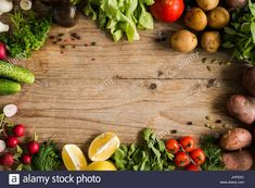 Fresh organic vegetables, greens and fruits from local market on rustic wooden table background. Top view with copy space Rustic Wooden Table, Wooden Tables, Organic Farming, Organic Gardening, Organic Horticulture, Farm Photography, Starting A Garden, Variety Of Fruits, Chamomile Tea