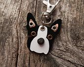 Keychain ID Key Chain Tag Boston Terrier Style 2 Breed Dog Pet Lover Copper Aluminum Custom Rivets Stamped