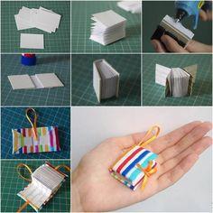 Hang a mini diary book to your keychain! For making this lovely DIY mini diary book keychain you require 2 sheets of paper (A4 size), beer cardboard, construction knife, scissors, glue, pencil, clamp, a piece of felt and a piece of cloth.
