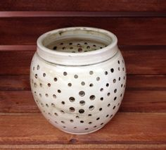 Small white stoneware clay pottery candle lantern