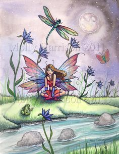 Magic At Dusk Original Fairy Art Print 12 x door MollyHarrisonArt