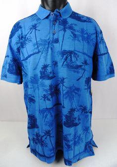NWT Paradise Collection Mens L Polo Shirt Hawaiian Aloha Floral Garment Wash SS #ParadiseCollection #Polo