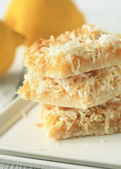 Lemon Coconut Bars.  1½ cups all-purpose flour  ½ cup confectioners' sugar  ¾ cup cold butter or margarine  4 eggs  1½ cups sugar  ½ cup lemon juice  1 teaspoon baking powder  1 cup flaked coconut