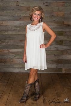 The Rey Lace Tunic/Dress is so romantic! This lined, ivory pull-over style tunic features beautiful lace throughout with a floral lace patch along the front yoke.