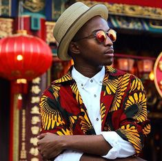 Trevor Stuurman spending some time over in Hong Kong - wearing our Summer Pork-Pie hat. #simonandmary #millinery