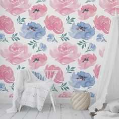 Kitchen Wallpaper, Diy Wallpaper, Peel And Stick Wallpaper, Blue Peonies, Wall Spaces, Modern Contemporary, Home Goods, Home Improvement, Accent Walls