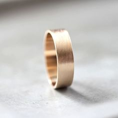Men's Gold Wedding Band, 6mm Wide Brushed Flat 10k Recycled Yellow Gold Men's Wedding Ring Gold Ring - Made in Your Size