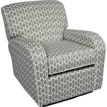 Little Castle Furniture 88DB39C9 Silhouette Swivel Glider Recliner with White Piping - Domino Silver