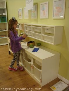 great example of making sure that to systems created for your child works for them as well...the height allows your child to access their items an more importantly return them to there proper place when finished on their own
