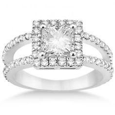 Princess Cut Halo Diamond Engagement Ring Palladium Setting (0.72ct) - Allurez.com