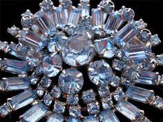 Huge Blue Rhinestone B David Estate Demi Set Brooch Earrings Prong Set Vintage | eBay