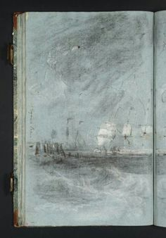 """Joseph Mallord William Turner 'Study for 'Ships Bearing up for Anchorage (""""The Egremont Seapiece"""")'', - Chalk on paper - Dimensions Support: 436 x 271 mm - Collection - Tate Joseph Mallord William Turner, Artist Journal, Artist Sketchbook, Turner Painting, Painting & Drawing, Turner Watercolors, Watercolor Landscape Paintings, Sketchbook Inspiration, Art Sketches"""