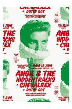 Brest Brest Brest - Concert de Angil & The Hiddentracks + Chevalrex organisé par Radio Campus Grenoble et le Centre d'Art Bastille. Affiche 29,7x42 cm, risographié par Papier Machine en vert (Pantone 354) et rouge (Pantone Warm Red) sur Munken Print White 115g 1.5