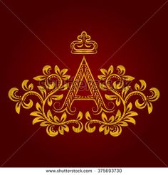 Patterned golden letter A #monogram in vintage style. Heraldic coat of arms. Baroque #logo template.