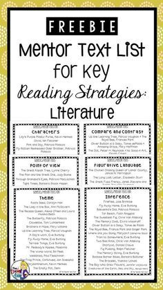 This freebie includes a list of mentor texts for each of the following key reading strategies for literature: Inference Theme Characters Figurative Language Point of View Compare and Contrast Mentor texts are a great tool to use with students as part of a reading mini-lesson. My hope is that the lists included will help you easily find some great picture books to add to your collection of lesson ideas for each of the strategies listed.