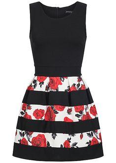 Styleboom Fashion Damen Kleid Blumen Muster gestreift schwarz rot weiss Styleboom Fashion Kleider | 77onlineshop im Online Shop preiswert kaufen