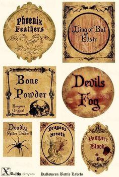 Haunted Halloween Spooky Bottle Labels 85 x 11 by XanderGraphics Halloween Apothecary Labels, Halloween Bottle Labels, Halloween Potions, Fete Halloween, Holidays Halloween, Vintage Halloween, Halloween Crafts, Halloween Decorations, Haunted Halloween