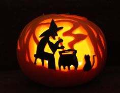 witch and couldren pumpkin carving