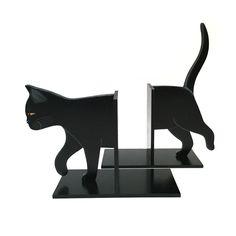 gattoso ferma libri doppio in legno dipinto a mano www.gattosi.com