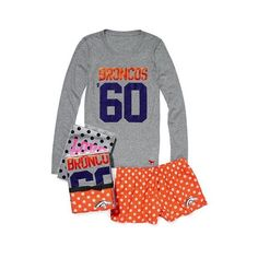 Victoria'S Secret Denver Broncos Tee & Boxer Gift Set ($37) found on Polyvore