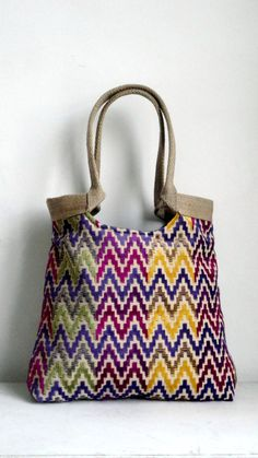 Chevron tapestry tote bag with burlap by madebynanna on Etsy, $67.00