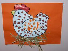 Tapa d'àlbum ideal per a Farm Crafts, Easter Crafts, Preschool Crafts, Crafts For Kids, Chicken Painting, Cute Chickens, Farm Fun, Farm Theme, Baby Art