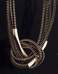 Zipper necklace with Brass tubes coated with 24 carat gold