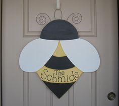 "LARGE 24"" Hanging PERSONALIZED BEE for  door, wall hanging, girl bedroom or home decor. $32.95, via Etsy."