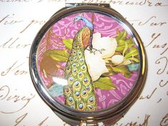 Compact Mirror with Peacock cosmetic handbag by RubysNeedfulGifts on Etsy.