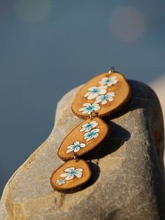 Hand painted Flowers necklace Long pendant White flowers