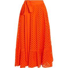 Tory Burch Hermosa broderie anglaise cotton wrap skirt ($405) ❤ liked on Polyvore featuring skirts, orange, orange skirt, flared midi skirt, tory burch, cotton wrap skirt and cotton skirts